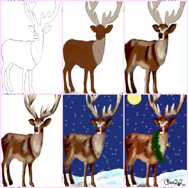 how to draw a reindeer step by step