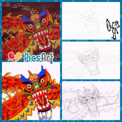 drawing dragon chinese art desing