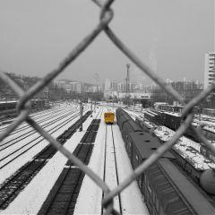 korea black & white train color splash travel